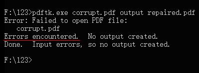 لا يمكن لـ PDFTK إصلاح ملف PDF التالف